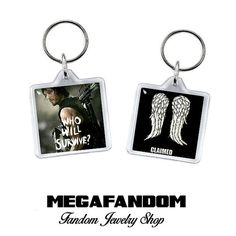 """Daryl Dixon Claimed Wings Square Acrylic Keychain 1.5"""" x 1.5"""" Keyring Double Sided Walking Dead Fandom Accessories"""