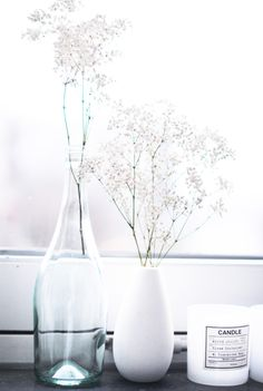 Décoration pure, fleurs blanches / White flowers in the bottle #decor #interior #deco