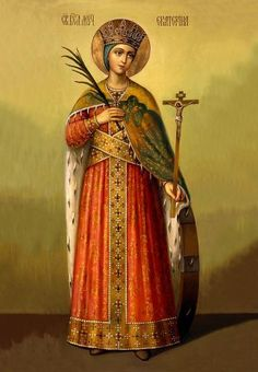 Byzantine Icons, Byzantine Art, Catholic Art, Religious Art, St Catherine Of Alexandria, Saint Katherine, 1940s Pinup, Church Icon, Russian Icons