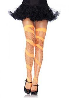 Leg Avenue - Diamond Net Thigh High Neon Orange - Hosiery, Stockings & BodyStockings - Available in sizes - Standard Stockings Legs, Fishnet Stockings, Stockings Lingerie, Lingerie Outfits, Sexy Lingerie, Thigh High Socks, Thigh Highs, Knee Highs, Halloween Accessories