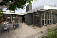 Deep Gray Exterior Paint- Open Outdoor living..fabulous floor to ceiling windows..Eichler Peaks..