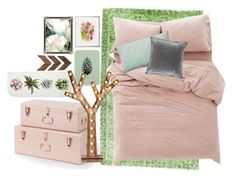 """""""green and blush"""" by enorris-en ❤ liked on Polyvore featuring interior, interiors, interior design, home, home decor, interior decorating, Urban Outfitters, LINUM, M&Co and WALL"""