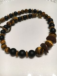 Hematite, black matte onyx, tiger eye, copper discs...part of my new collection. Check out www.designsbydimarie.com #oneofakind #cooljewelry #jewelry #naturals #getsome