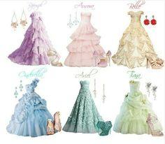 Rapunzel, Aurora, Belle, Cinderella, Ariel, Tiana