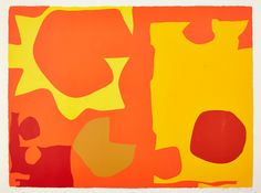 Patrick Heron, Six in Light Orange with Red in Yellow: April 1970 screenprint for sale | Porthminster Gallery