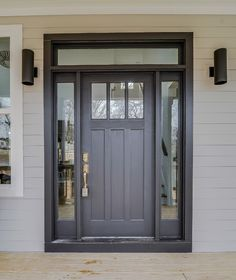 FRONT DOOR IDEAS – Among the very first points about a house that a guest or home buyer notices are the front doors. If you wish to make a statement, upgrading or overhauling your front door … Craftsman Exterior Door, Craftsman Style Front Doors, Black Exterior Doors, Exterior Doors With Sidelights, Exterior Doors With Glass, Black Front Doors, Painted Front Doors, Painted Exterior Doors, Craftsman Farmhouse
