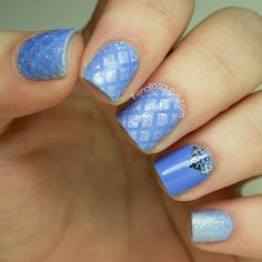 Baby Blue Quilted Nail Art - The Nailasaurus
