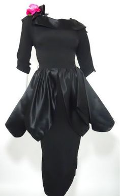 Black Cocktail Dress with Peplum and Rose circa 1950s by Minx Modes