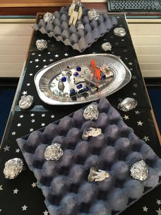 Space small world on the cheap! Space small world on the cheap! Space Preschool, Space Activities, Space Projects, Space Crafts, Space Classroom, Block Center, Tuff Tray, Small World Play, Sensory Table