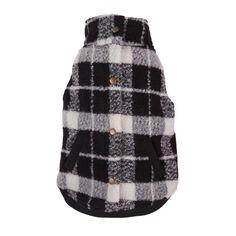 Black/White Plaid Bouclé Dog Coat  by fabdog - available at fabdog.com #dogfashion #dogclothes #dogcoats