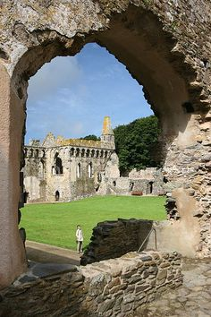 Bishops palace in St. David's,Wales as it appears today.In 1540,the body of Edmund Tudor,Earl of Richmond and father of Henry VII,was brought to be entombed in front of the High Altar from the dissolved Greyfriars' Priory in Carmarthen.The dissolution of the Monarchy and the establishment of the Puritan Commonwealth under Oliver Cromwell had great effect on many Cathedrals and Churches, particularly felt in St David's. The Cathedral was all but destroyed by Cromwell's forces...