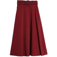 Belted Flare Skirt Red ($59) ❤ liked on Polyvore featuring skirts, bottoms, flare, red, red skirt, red skater skirt, flare skirts, red knee length skirt and flared skater skirt