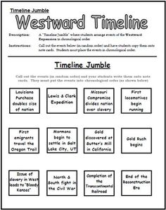 westward expansion essay Western a Expansion Timeline Jumble Worksheet: This would be a . 7th Grade Social Studies, Social Studies Classroom, Social Studies Activities, History Classroom, Teaching Social Studies, Student Teaching, Learning Resources, Teaching Ideas, 8th Grade History