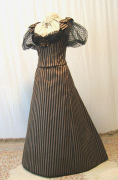BELLE EPOQUE BLACK AND COPPER STRIPE Steampunk gown dress