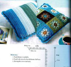вязаная подушка 0004 » Домашняя кулинария и ручная работа Crochet Diy, Crochet Motifs, Crochet Chart, Crochet Home, Crochet Cushions, Crochet Pillow, Diy Pillows, Household Items, Cross Stitch