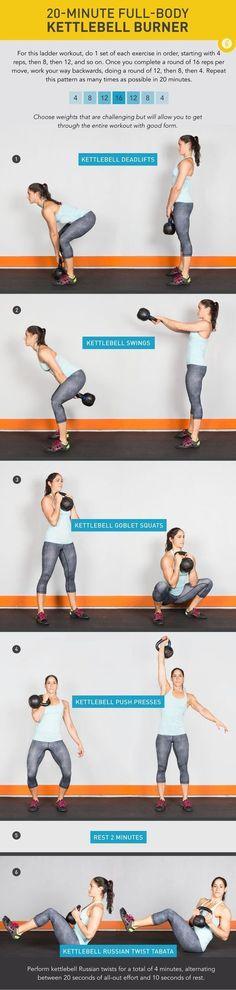20 Minute Full-Body Kettlebell Burner #health #fitness #kettlebell