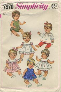 "Vintage Doll Clothes Sewing Pattern | Baby Doll Wardrobe Suitable for Vinyl Baby Dolls such as Betsy Wetsy, Baby Giggles, Baby Crawl-Along, Tubsy | Simplicity 7970 | Year 1968 | Size Large Height 18""-20"" Waist 13""-14¼"""