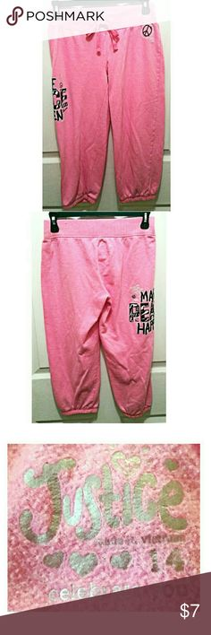 Pink Capri sweatpants by Justice 60%cotton 40% polyester. In EUC. Size 14 girls. Justice Bottoms Sweatpants & Joggers