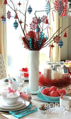 A Pop of Pretty: Canadian Decorating Blog - http://apopofpretty.com/christmas-table-red-aqua/