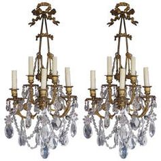 Pair of French Gilt Bronze and Crystal Sconces, Circa 1830