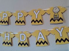 "This listing is for a Charlie Brown Happy Birthday banner.  Colors used are yellow, black and white with quality cardstock, prints and curling ribbon to hang on. Each piece can easily be moved to be spaced closer or farther apart, which will affect the exact length. Each pennant measures about 5.5 x 6 in.  Other MATCHING items are also available for PURCHASE, these include: ""I AM (AGE)"" banners, name banners, door signs, cupcake wrappers & toppers and much more... Just convo me for details…"