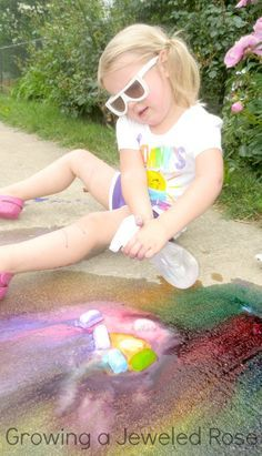 Make your own ICE Chalk- Ice chalk is super vibrant, easy to make, and playing with icy chalk on a hot day sure beats playing with plain old sidewalk chalk