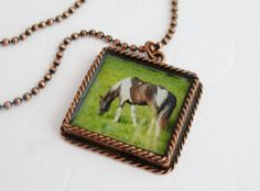 A Horse is a Horse, of Course, of Course!  ~ Paint Horse Copper Photo Pendant by LittleVisions ~ annwidner.etsy.com