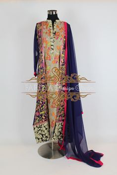 NAVY BLUE EMBROIDERED KHADI NET A LINE