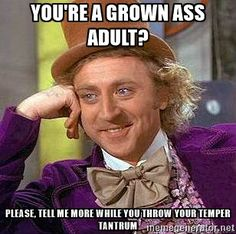 Willy Wonka - You're a grown ass adult? Please, tell me more while you throw your temper tantrum