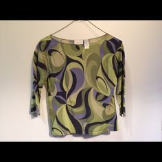 Retro Liz Clairborne Beautiful shirt ,medium. Silk, nylon, cotton blend. Greens, blues, purple. Gently used, and very comfortable! Liz Claiborne Tops Tees - Long Sleeve
