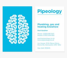 Branding by Elmwood for Pipeology, a Doncaster-based plumber. I would absolutely bire any plumber who gave me such a pretty business card.