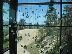 Beautiful crystals hanging outside the restaurant at Kolosowska Hill resort and spa Vernon Bc, The Outsiders, Destinations, Sparkle, Restaurant, Vacation, Crystals, Cool Stuff