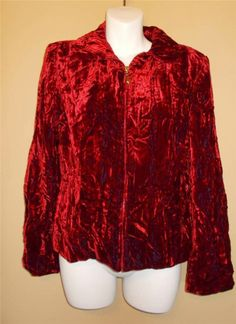 Cache Crushed Velvet Red Jacket Size 8 Gorgeous Great For Spring Free Shipping