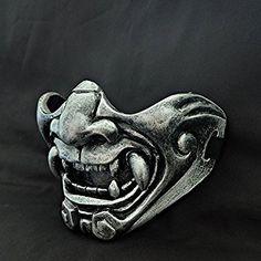 Amazon.com : Custom Halloween Costume Cosplay BB Gun Kabuki Samurai Evil Demon Oni Airsoft Mask silver MA229 : Sports & Outdoors