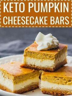 These healthy pumpkin cheesecake bars are layered with a bottom almond crust a middle cheesecake layer and a top pumpkin layer. These healthy pumpkin cheesecake bars are layered with a bottom almond crust a middle cheesecake layer and a top pumpkin layer. Desserts Keto, Homemade Desserts, Mini Desserts, Dessert Recipes, Dinner Recipes, Keto Snacks, Holiday Desserts, Healthy Pumpkin Desserts, Lunch Recipes