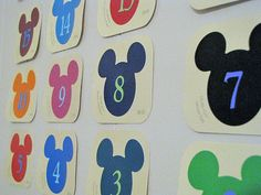I'm stocking up on these for our next trip to Disney World!  Use Mickey paint chips as Disney countdown calendar.  Cute!