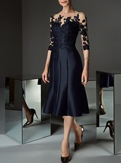 A-Line Bateau Neck Knee Length Lace / Satin Mother of the Bride Dress with Appliques / Buttons by LAN TING Express / See Through Women's A Line Dresses, Mob Dresses, Types Of Dresses, Knee Length Dresses, Cheap Party Dresses, Party Dresses Online, Vestidos Mob, Mother Of Groom Dresses, Mothers Wedding Dresses