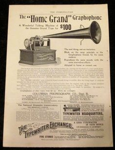 Vintage Columbia Phonograph Graphophone Ad Cosmo 1899 Recordings