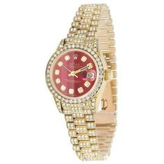 Pre-owned Rolex Datejust 69178 18K Yellow Gold Red Dial with Custom... ($11,999) ❤ liked on Polyvore featuring jewelry, watches, diamond watches, 18k watches, gold jewellery, gold watches and diamond jewellery #GoldJewellerySet