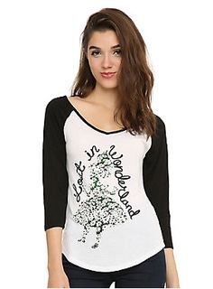 "<p>Raglan style top from Disney's <i>Alice in Wonderland</i> with an Alice ""Lost in Wonderland"" daisy filled silhouette design on front.</p><ul>	<li>65% polyester; 35% rayon</li>	<li>Wash cold; dry low</li>	<li>Imported</li>	<li>Listed in junior sizes</li></ul>"