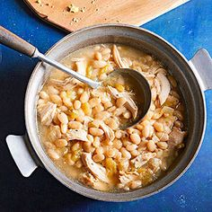 This high-protein main dish looks like navy bean soup but is actually a mild chicken chili.