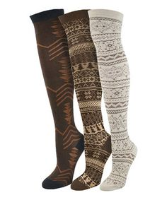 Look what I found on #zulily! Brown Over-The-Knee Socks Set by MUK LUKS #zulilyfinds