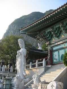 At the South Korean port of Incheon visit Jeju Island, and view the Buddhist temple.
