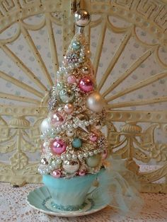 Shabby Bottle Brush Tree in a teacup - AQUA, PINK and CREAM