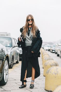 A fur coat is paired with a gray t-shirt, silk skirt, and Miu Miu ballet flats - Fashion Week Fashion Week, Look Fashion, Fashion Photo, Milan Fashion, Fashion Clothes, Womens Fashion, Lace Up Ballet Flats, Miu Miu Ballet Flats, Ballerina Flats