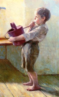 ''The children's concert'' 1900 by Georgios Iakovidis (detail ,the boy with watering can) Location : National Gallery-Athens. Painter Artist, Artist Painting, Close Up Art, Greece Painting, Blues Artists, 10 Picture, Greek Art, Chiaroscuro, Love Art