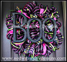 Halloween Wreath Deco Mesh Wreath Mesh by RedWithEnvyDesigns, $88.75
