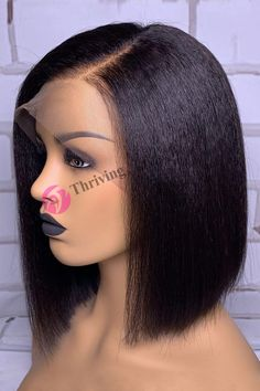 Thriving Hair Neoteric Side Parting Kinky Straight Bob Virgin Human Hair Full Lace Wigs For Black Women – Neauty ideas Frontal Hairstyles, Weave Hairstyles, Straight Hairstyles, African Hairstyles, Black Hairstyles, Kinky Straight Hair, Straight Bob, Straight Wigs, Kinky Hair
