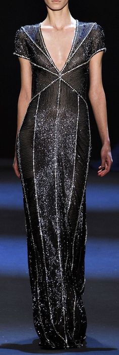 Naeem Khan Autumn/Winter 2011-2012. This gunmetal gown with strategically placed pearl/white beading is gorgeous. I love it.