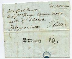 Da Livorno 2.9.1844 a Pisa con SD arcaici 2 SETTEMBRE   10.A. Rara lettera del primo anno di funzionamento della tratta ferroviaria.